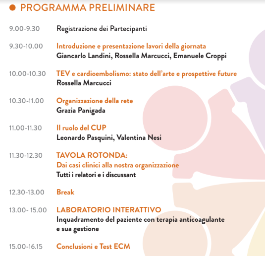 Programma ECM 21 settembre Pistoia